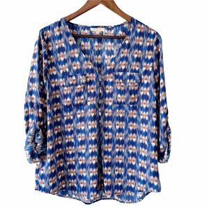 Skies are Blue Button Front Blouse Tan/Blue Size L